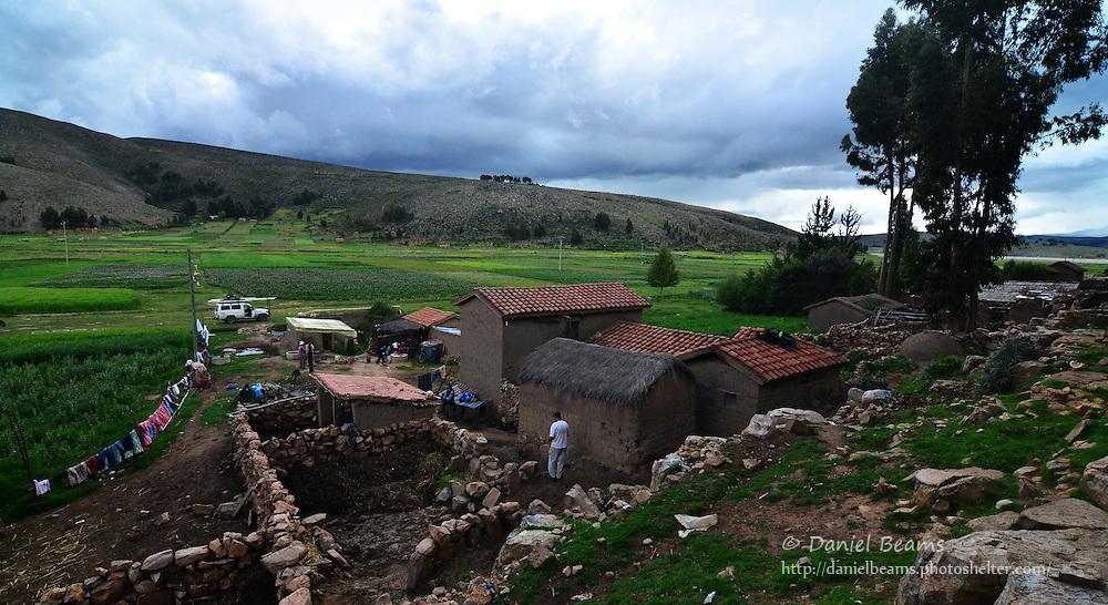 Quechua house and farm in Vacas, Cochabamba, Bolivia
