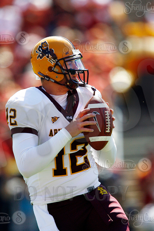11 October 2008: NCAA Pac-10 USC Trojans 28-0 shut-out win over the Arizona State University Sun Devils during a day college football game at the Los Angeles Memorial Coliseum in Southern California. Arizona Quarterback #12 Rudy Carpenter with the ball.