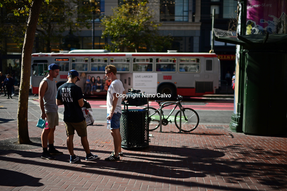 Group of young friends in Market street, San Francisco.