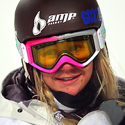 SHOT 1/25/08 7:39:42 PM - Snowboarder Hannah Teeter of Belmont, Vt. after one of her runs during the Snowboard Superpipe Finals Friday January 25, 2008 at Winter X Games Twelve in Aspen, Co. at Buttermilk Mountain. Teeter finished fourth with a score of 77.33. The 12th annual winter action sports competition features athletes from across the globe competing for medals and prize money is skiing, snowboarding and snowmobile. Numerous events were broadcast live and seen in more than 120 countries. The event will remain in Aspen, Co. through 2010..(Photo by Marc Piscotty / © 2008)