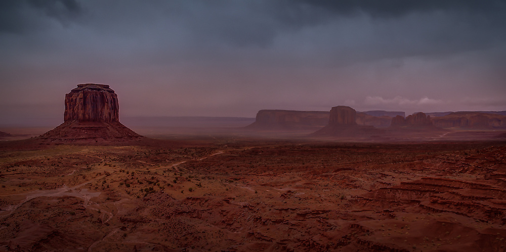 A Rain Storm Moving Through Monument Valley