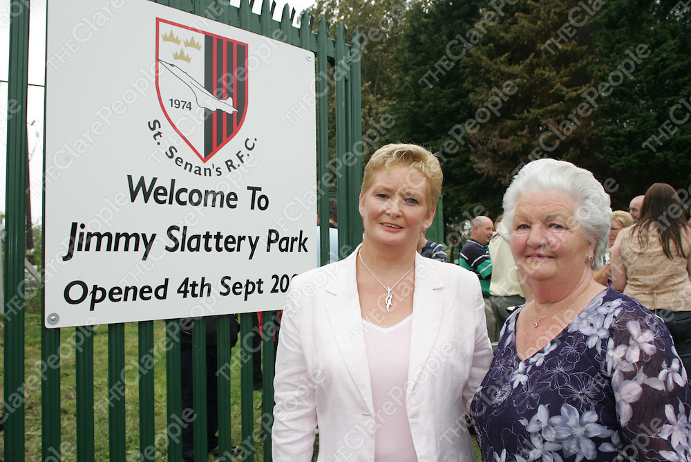 Mary Slattery wife and Cecila Slattery Mother  of the Late Jimmy Slattery pictured at the Opening of the St.Senan's R.F.C Jimmy Slattery Park which comprises of two playing Fields in Shannon Co.Clare.<br />