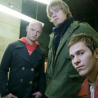 Lifehouse shot at Geffen Records on February 9, 2005...Jason Wade, lead vocals, guitar..Bryce Soderberg, bass guitar..Rick Woolstenhulme, drums..© Rahav Segev/ Retna ltd.