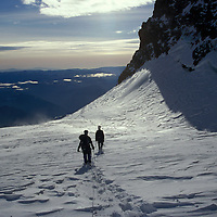 Crossing the Ingraham Flats on Mt. Rainier.