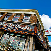 SHOT 10/13/09 11:58:56 AM - Parkside Candies on Main Street in Buffalo, NY. The store has made and sold candy at the location since 1927. Buffalo, N.Y. is the second most populous city in the state of New York and is located in Western New York on the eastern shores of Lake Erie and at the head of the Niagara River. By 1900, Buffalo was the 8th largest city in the country, and went on to become a major railroad hub, the largest grain-milling center in the country and the home of the largest steel-making operation in the world. The latter part of the 20th Century saw a reversal of fortunes: by the year 1990 the city had fallen back below its 1900 population levels. (Photo by Marc Piscotty / © 2009)
