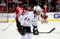 February 8, 2008; Newark, NJ, USA;  Anaheim Ducks defenseman Scott Niedermayer (27) during the pre-game warmups at the Prudential Center in Newark, NJ. Neidermayer returned to NJ to face the Devils for the first time since leaving the team.