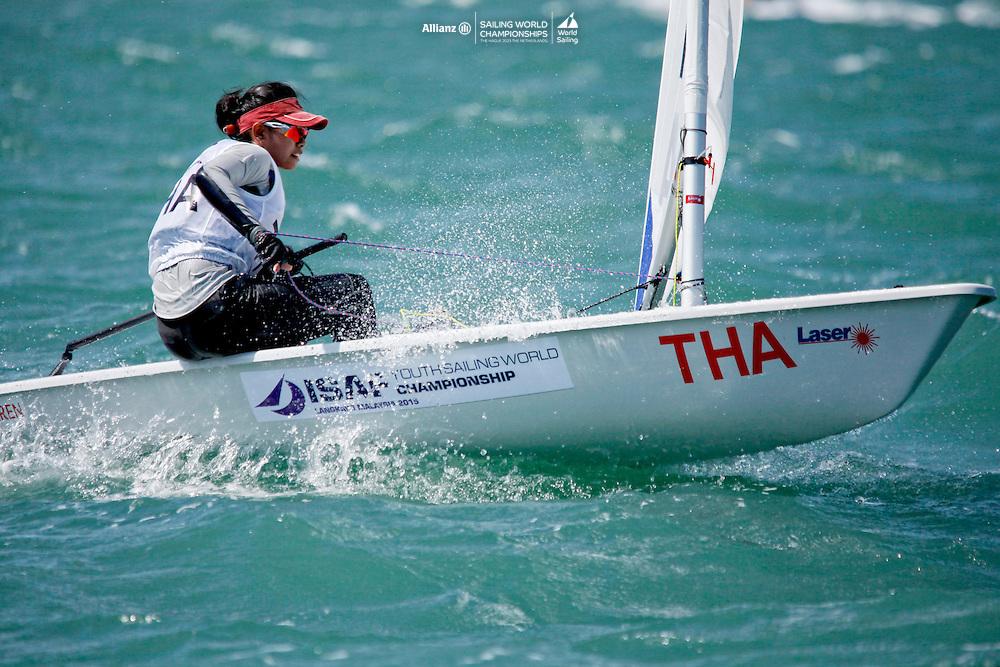 ThailandLaser RadialWomenHelmTHAKP3KanapanPachatikapanya<br />Day1, 2015 Youth Sailing World Championships,<br />Langkawi, Malaysia