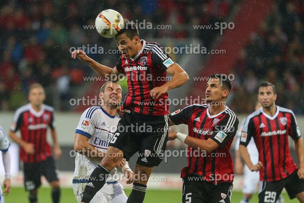 22.09.2015, Audi Sportpark, Ingolstadt, GER, 1. FBL, FC Ingolstadt 04 vs Hamburger SV, 6. Runde, im Bild Kopfball Alfredo Morales (Nr.6, FC Ingolstadt 04) // during the German Bundesliga 6th round match between FC Ingolstadt 04 and Hamburger SV at the Audi Sportpark in Ingolstadt, Germany on 2015/09/22. EXPA Pictures &copy; 2015, PhotoCredit: EXPA/ Eibner-Pressefoto/ Strisch<br /> <br /> *****ATTENTION - OUT of GER*****