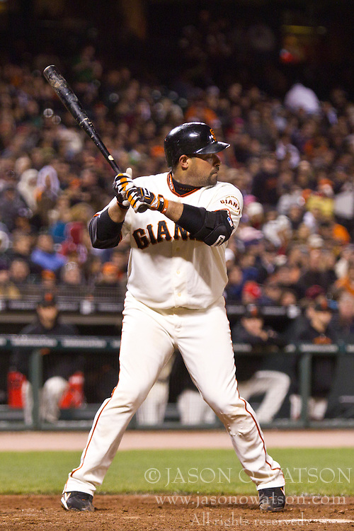 May 11, 2010; San Francisco, CA, USA;  San Francisco Giants catcher Bengie Molina (1) at bat against the San Diego Padres during the fifth inning at AT&T Park.  San Diego defeated San Francisco 3-2.