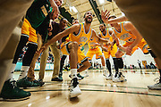 Vermont's Hector Harold pumps up his teammate during the huddle before the start of the men's basketball game between the Southern Vermont Mountaineers and the Vermont Catamounts at Patrick Gym on Wednesday night November 19, 2014 in Burlington, Vermont. (BRIAN JENKINS, for the Free Press)