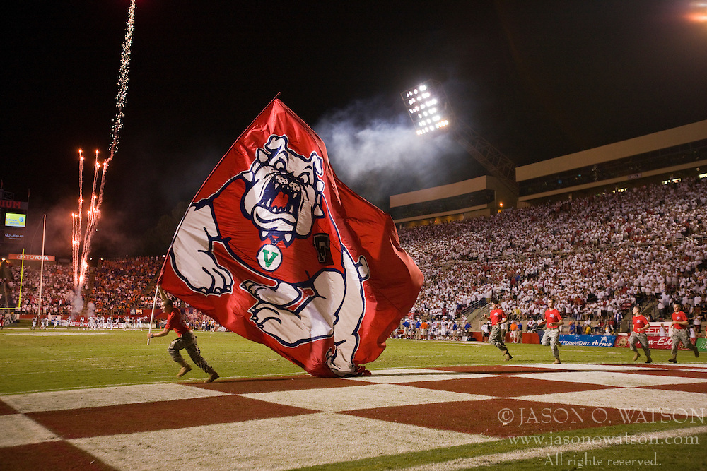 Sep. 18, 2009; Fresno, CA, USA;  The Fresno State Bulldogs celebrate after scoring a touchdown against the Boise State Broncos during the third quarter at Bulldog Stadium. Boise State defeated Fresno State 51-34.