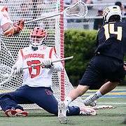Syracuse Goalkeeper EVAN MOLLOY (13) blocks the ball during the second half of a 2017 NCAA Division I Men's Lacrosse Quarterfinals game between unranked Towson and #2 Syracuse Sunday, May. 21, 2017 at Delaware Stadium in Newark, Delaware.