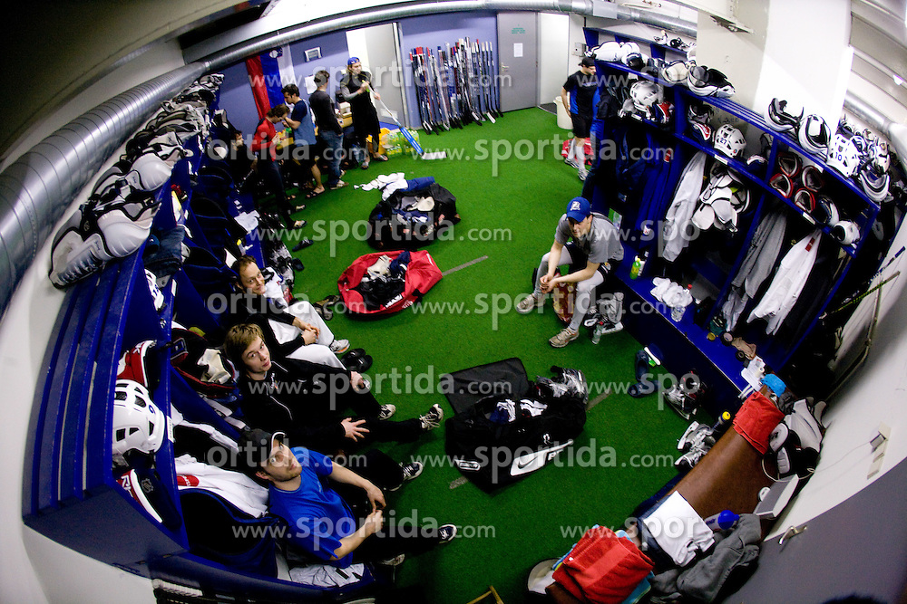 Marjan Manfreda, Ziga Jeglic, Ziga Svete (L) in wardrobe at first practice of Slovenian National Ice hockey team before World championship of Division I - group B in Ljubljana, on April 5, 2010, in Hala Tivoli, Ljubljana, Slovenia.  (Photo by Vid Ponikvar / Sportida)