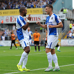 Jermaine Easter of Bristol Rovers celebrates his goal with Lee Brown - Mandatory byline: Dougie Allward/JMP - 07966386802 - 22/08/2015 - FOOTBALL - Memorial Stadium -Bristol,England - Bristol Rovers v Barnet - Sky Bet League Two