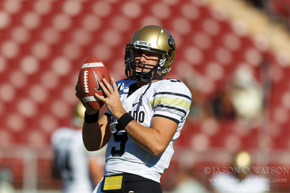 Oct 8, 2011; Stanford CA, USA;  Colorado Buffaloes quarterback Tyler Hansen (9) warms up before the game against the Stanford Cardinal at Stanford Stadium.  Stanford defeated Colorado 48-7. Mandatory Credit: Jason O. Watson-US PRESSWIRE