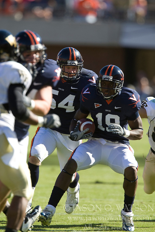 Virginia wide receiver Ras-I Dowling (19) returns an interception.  The #23 Virginia Cavaliers defeated the #24 Wake Forest Demon Deacons 17-16 at Scott Stadium in Charlottesville, VA on November 3, 2007.