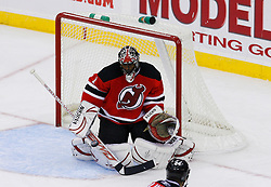 Nov 1, 2008; Newark, NJ, USA; New Jersey Devils goalie Kevin Weekes (1) makes a save during the third period at the Prudential Center. The Devils defeated the Thrashers 6-1.