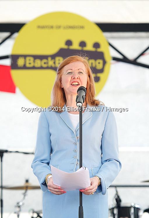 Deputy Mayor of London Lady Victoria Borwick speaking at the Feast of St. George celebrations. Trafalgar Square, London, United Kingdom. Monday, 21st April 2014. Picture by Elliott Franks / i-Images