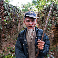 Portrait of a temple caretaker in Angkor Wat, Cambodia