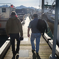Duke and Bill at the Marina, Cordova, Alaska, US