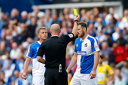 Tom Parkes of Bristol Rovers is shown a yellow card by referee Kevin Johnson - Mandatory byline: Rogan Thomson/JMP - 07966 386802 - 12/09/2015 - FOOTBALL - Memorial Stadium - Bristol, England - Bristol Rovers v Accrington Stanley - Sky Bet League 2.