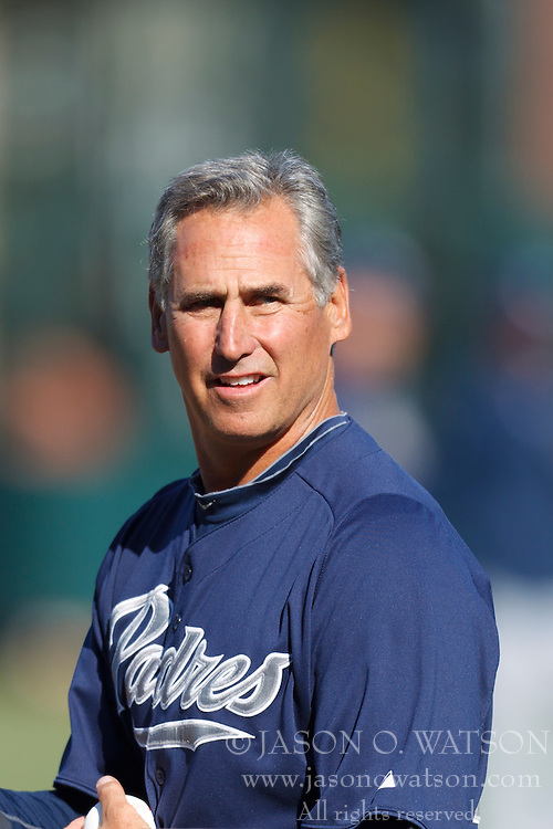 July 6, 2011; San Francisco, CA, USA;  San Diego Padres manager Bud Black (20) during batting practice before the game against the San Francisco Giants at AT&T Park. San Francisco defeated San Diego 6-5 in 14 innings.