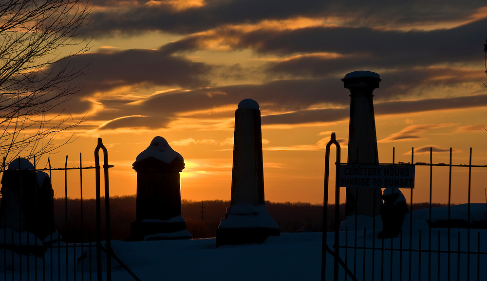 Sunset behind a cemetery near Central Ohio on January 22, 2011.