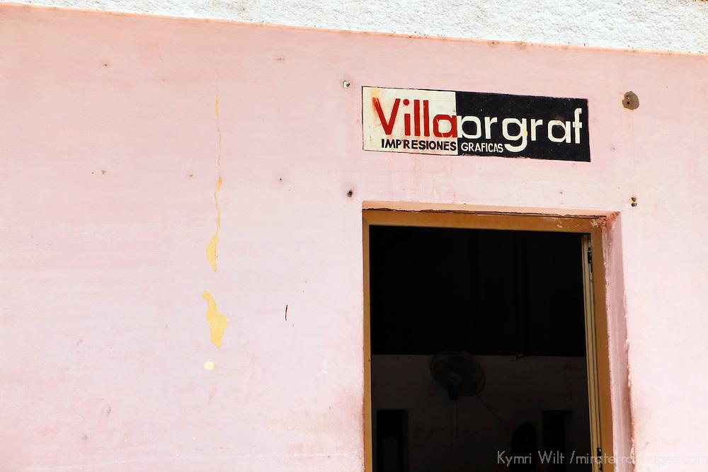 Central America, Cuba, Caibarien. Villargraf Print Shop in Caibarien.