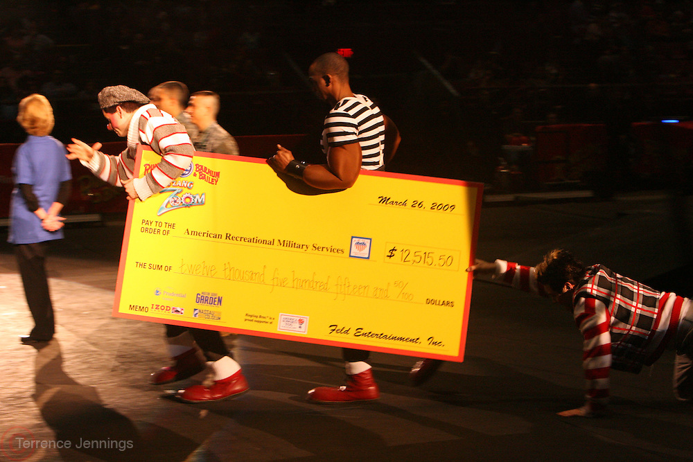 Check Presentation to the Recreational Millitary Services by Feld Entertainment Inc. at the 139th Annual Ringling Brothers and Barnum & Bailey Circus opens their 139th Season on March 26, 2009 held at Madison Square Garden  in New York City.
