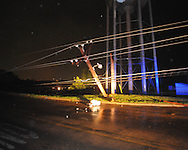 Electric pole on County Road is snapped in two from storm damage in Oxford, Miss. on Wednesday, April 27, 2011.