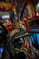 A view of the headgear and costume of Mongolian Shaman Gankhuyag Batmunkh in their ger on the outskirts of Ulan Bator, Mongolia, 04 July 2012. Mongolian brothers Gankhuyag and Batgerel Batmunkh share a similar fate. Both were construction workers before fate calls on them to take on their Shamanic roles to serve the spirits. Shamanism comes from the term 'shamans' that refers to priests or mediums that acts as vessels for spirits, gods and demons to communicate with the human world. In Mongolia, they adhere to the ancient beliefs of Tengrism, where spirits live in all of nature, in the sun, moon, lakes, rivers, mountains, and trees.
