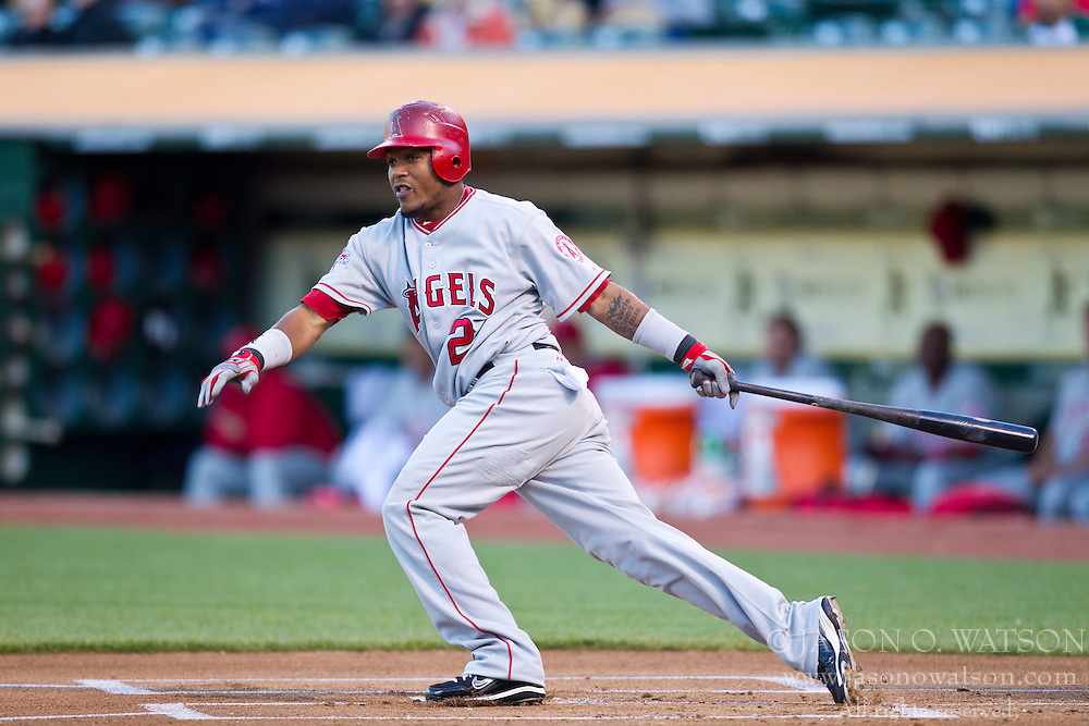 June 9, 2010; Oakland, CA, USA;  Los Angeles Angels shortstop Erick Aybar (2) at bat against the Oakland Athletics during the first inning at Oakland-Alameda County Coliseum. Los Angeles defeated Oakland 7-1.