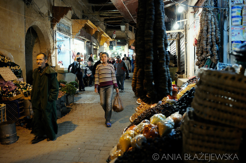 Morocco, Fez. Street of the medina in the evening.
