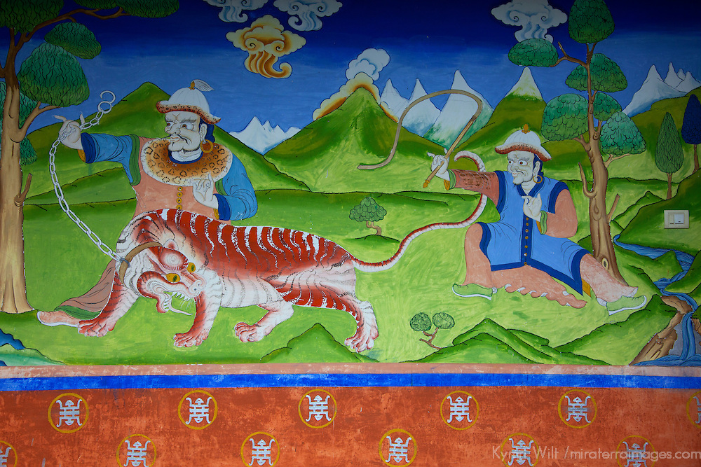 Asia, Bhutan, Trongsa. Yankhill Resort wall painting in Trongsa.