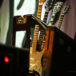 The post-punk band The Killers perform at the Hammerstein Ballroom at Manhattan Center Studios in New York, N.Y. on Oct. 24, 2008. Guitars are seen on stage during a sound check.