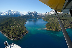 """Seaplane over Lake Tahoe 1"" - Aerial photograph of Lake Tahoe and Emerald Bay. Shot from an amphibious seaplane with the door removed."