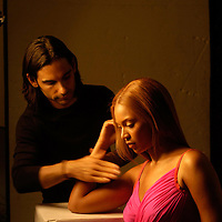 James Kaliardos, American make-up artist on set with Beyonce in Paris.