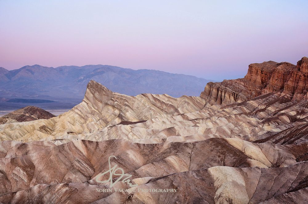 Early dawn over the Manly Beacon at Zabriskie Point, Death Valley National Park