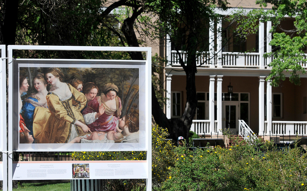 em051117b/jnorth/A painting by Orazio Gentileschi titled Moses rescued from the Waters of hte Nile is part of The PRADO in Santa Fe exhibit in Cathedral Park Santa Fe, Thursday May 11, 2017. (Eddie Moore/Albuquerque Journal