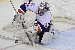 Apr 3; Newark, NJ, USA; New York Islanders goalie Al Montoya (35) makes a save during the third period at the Prudential Center.  The Devils defeated the Islanders 3-1.
