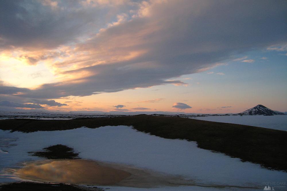 Sunset over Lake Myvatn, northern Iceland