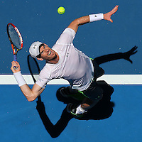 PERTH, AUSTRALIA - JANUARY 07: Andy Murray of Great Britain serves in his match against Jerzy Janowicz of Poland during day four of the 2015 Hopman Cup at Perth Arena on January 7, 2015 in Perth, Australia.  (Photo by Paul Kane/Getty Images) *** Local Caption *** Andy Murray