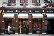 Cartier Jewelers on Old Bond Street, Mayfair, London, UK.