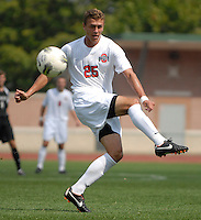 Ohio State forward Kenny Cunningham (25) takes a shot from distance as OSU takes on Binghamton in the first half of an NCAA men's college soccer game in Columbus, Ohio on Sunday, Sept. 11, 2011, at Jesse Owens Memorial Stadium.