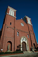 St. Mary's Cathedral, often known as Urakami Cathedral after its location in the Urukami district of Nagasaki.  Construction of the original Urakami Cathedral, a brick Romanesque building, began in 1895, after a long-standing ban on Christianity was lifted. The atomic bomb that fell on Nagasaki on August 9, 1945 detonated in Urakami only 500 m (1640 ft) from the cathedral, completely destroying it.  Urukami Cathedral was completely rebuilt in 1959.
