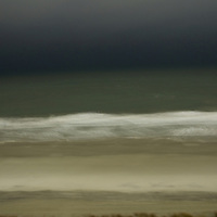 A storm roils in the nighttime off the coast of South Carolina.