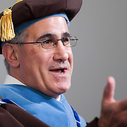 10/21/2011- Medford/Somerville, Mass. - Tufts President Anthony Monaco delivers his speech at his inauguration ceremony as the University's 13th president on Oct. 21, 2011. (Kelvin Ma/Tufts University)