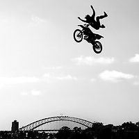 SYDNEY, AUSTRALIA - SEPTEMBER 17:  Adam Jones of the USA competes during the qualifying round on day 2 during the Red Bull X-Fighters world tour on Cockatoo Island on September 17, 2011 in Sydney, Australia.  (Photo by Marianna Massey/Getty Images)
