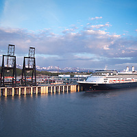 Holland America's ms Amsterdam prepares to leave the Port of Anchorage at 11:15 PM on May 24th, 2010.