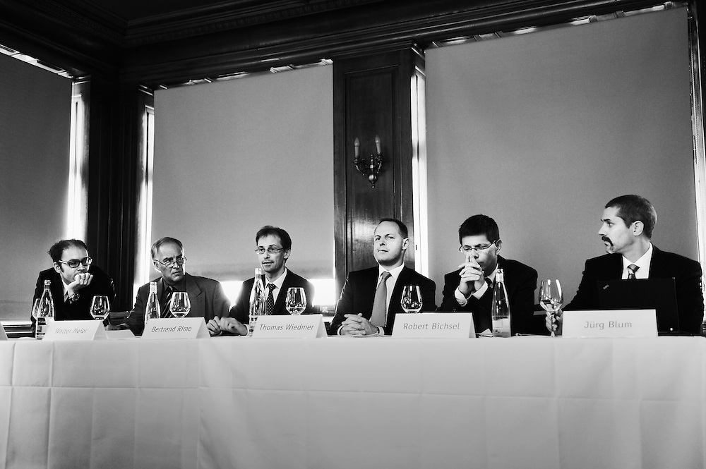 Swiss national bank staff panel to discuss its annual financial stability report with the press in an embargoed meeting in a small luxury hotel in central Zurich, with Thomas Wiedmer, the Chief Financial Officer, and member of the bank's governing board.
